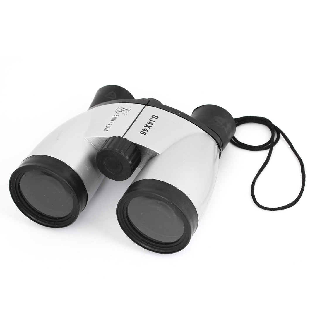 Travel Folding 4X Magnification Clear Lens Binoculars Toy Silver Tone Black