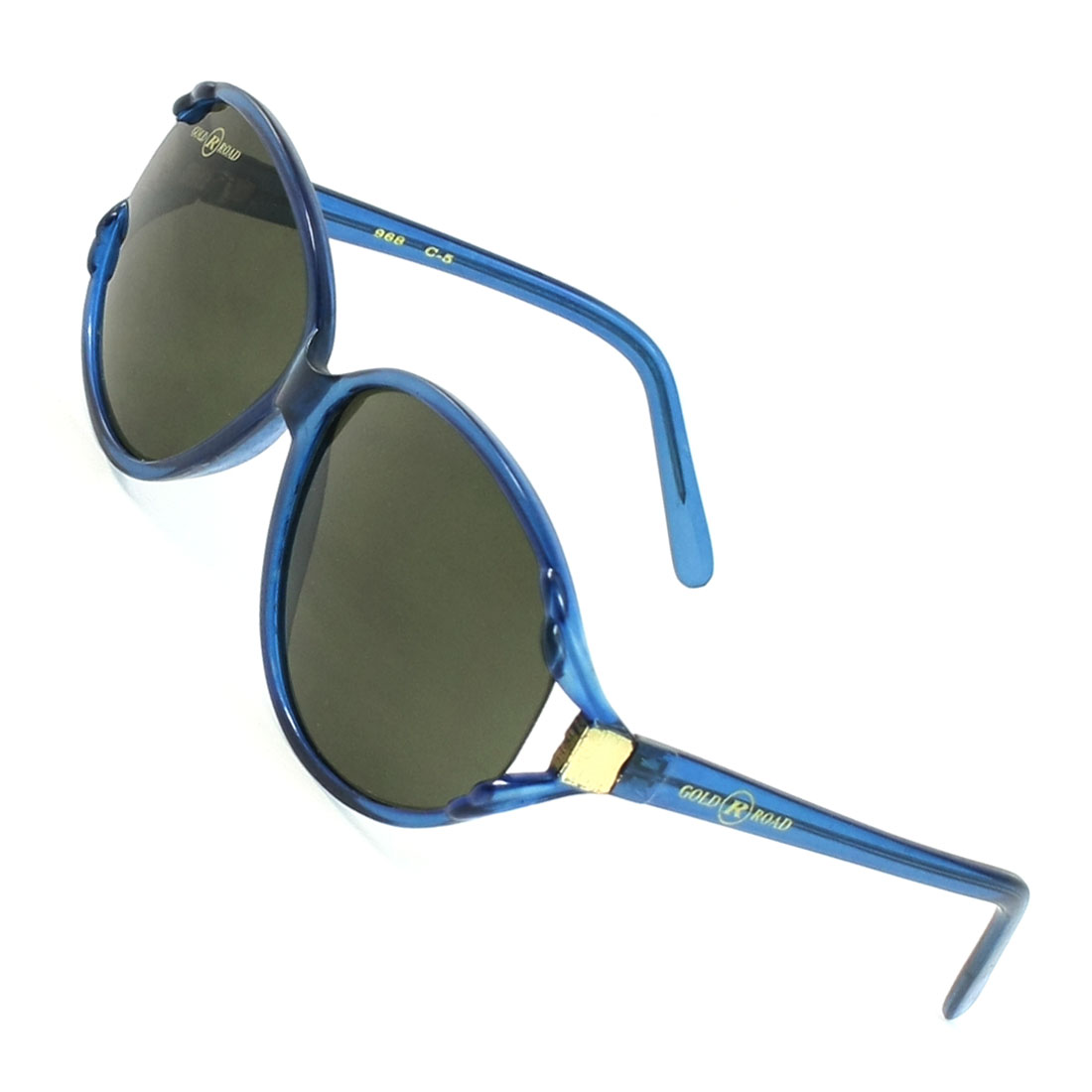 Lady Tinted Teardrop Lens Blue Plastic Single Bridge Full Frame Sunglasses