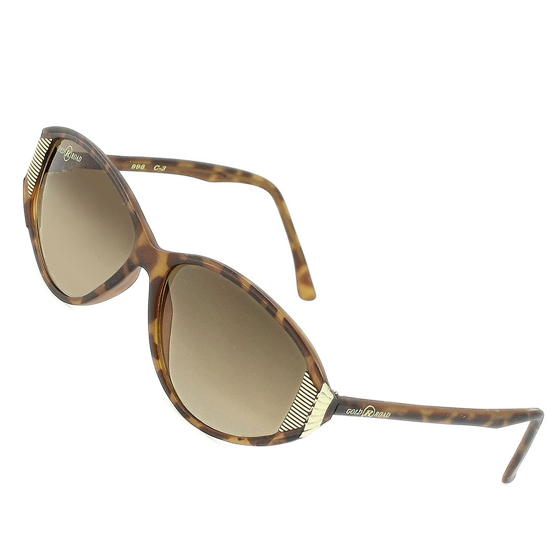 Ladies Tinted Waterdrop Lens Brown Leopard Print Rimmed Single Bridge Sunglasses