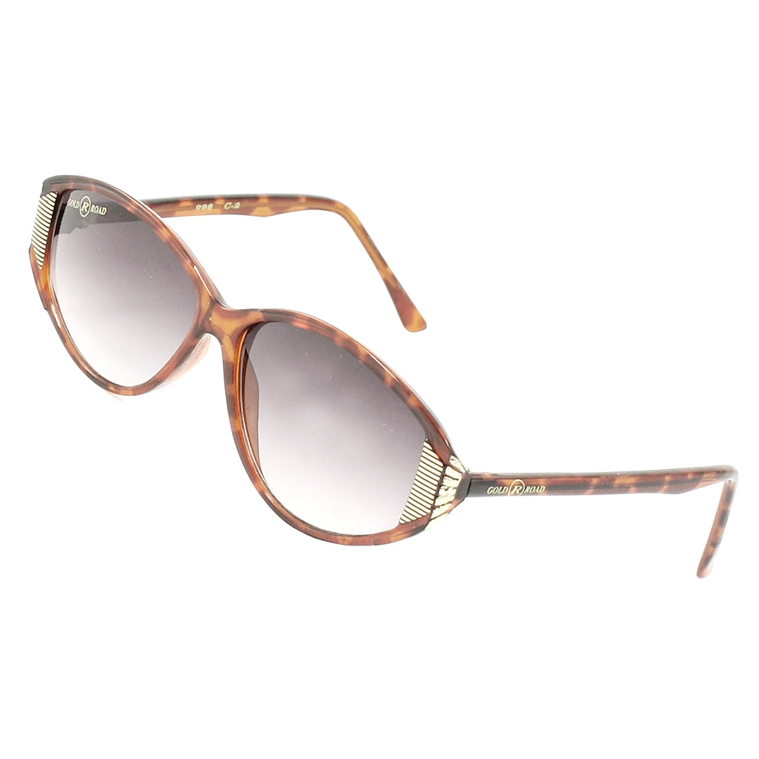 Ladies Tinted Lens Brown Plastic Leopard Pattern Full Rim Frame Sunglasses Glasses