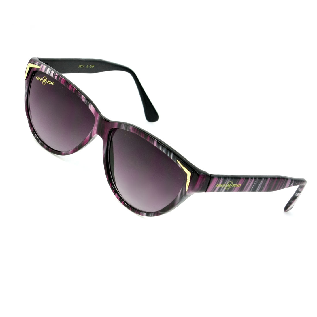 Tinted Raindrop Lens Stripes Full Frame Sunglasses Black Purple for Lady