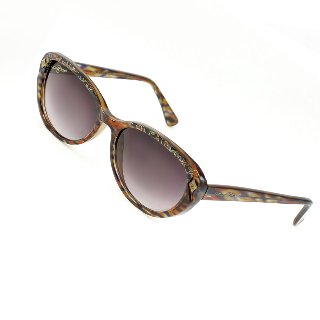 Tinted Lens Plastic Floral Print Full Frame Sunglasses Eyeglasses Brown for Women