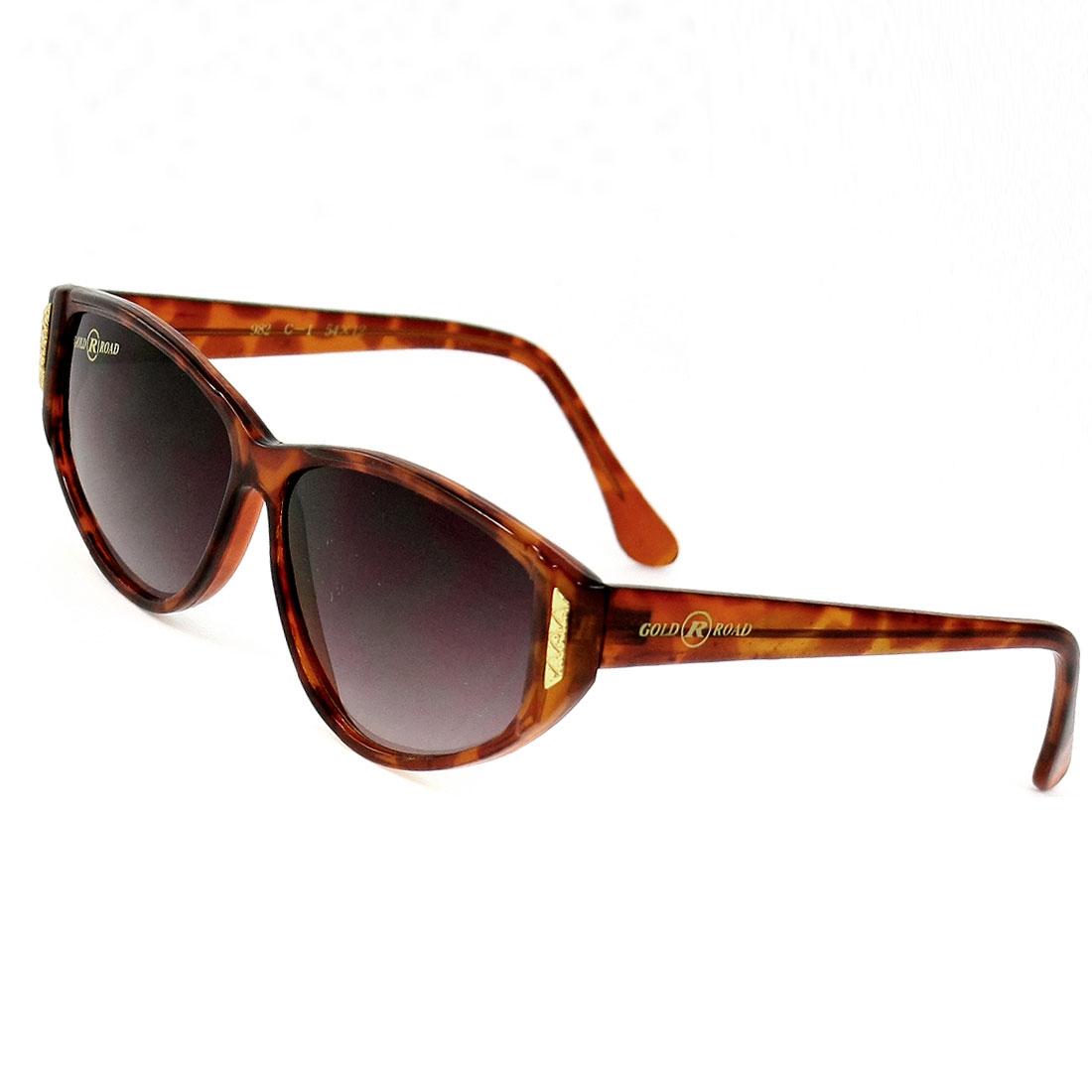 Women Waterdrop Lens Brown Plastic Leopard Prints Single Bridge Sunglasses Eyewear