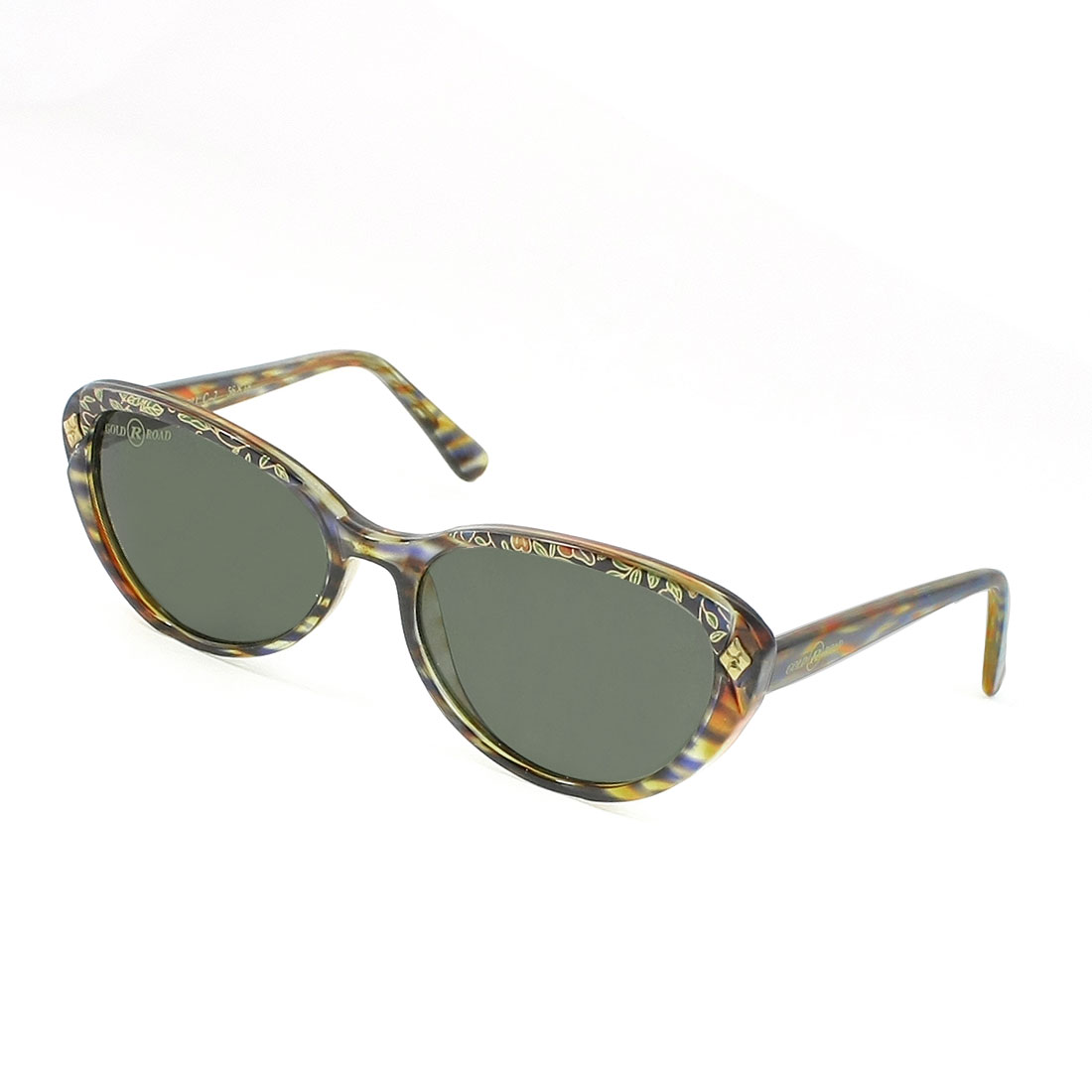 Ladies Clear Black Lens Plastic Floral Pattern Full Frame Sunglasses Eyeglasses
