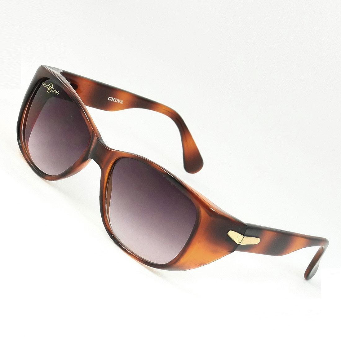 Woman Clear Gray Teardrop Lens Plastic Full Rim Frame Sunglasses Glasses