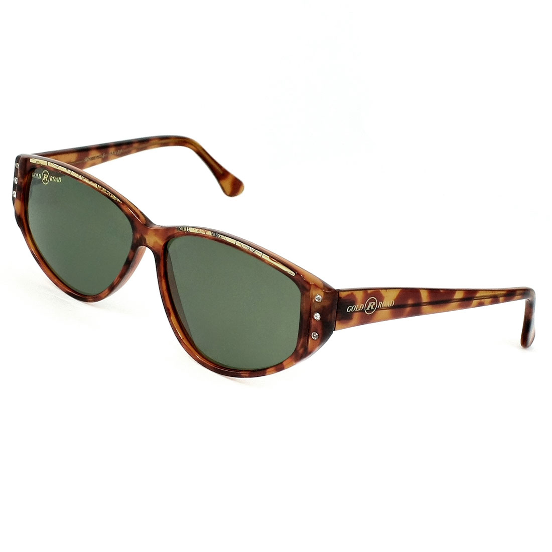 Women Rhinestones Inlaid Brown Leopard Pattern Full Frame Sunglasses Eyewear