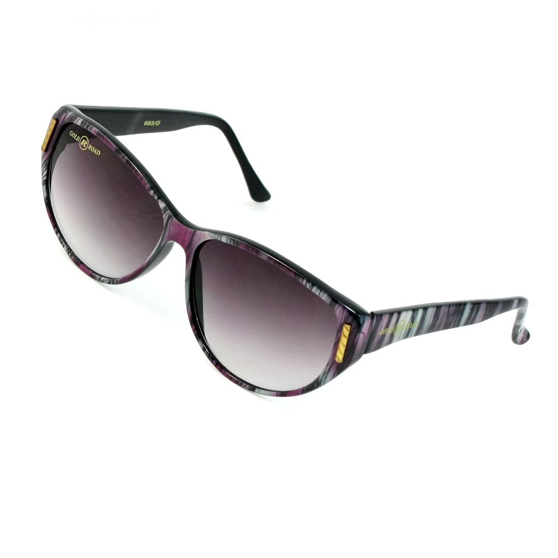 Lady Teardrop Lens Black Purple Plastic Stripe Print Full Rim Sunglesses