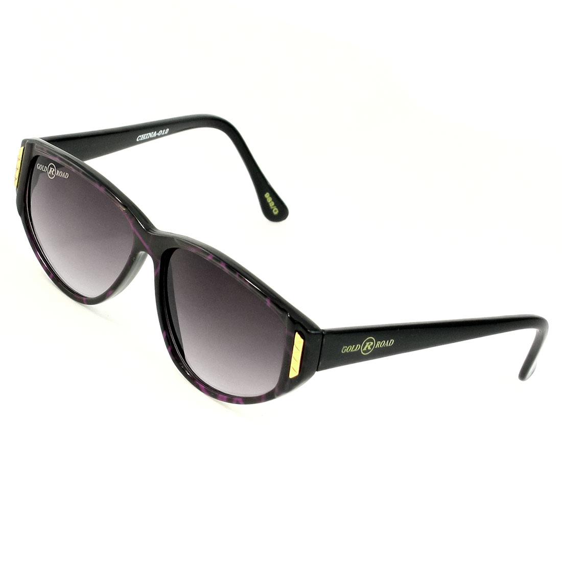 Women Tinted Water Drop Lens Metal Accent Black Rimmed Single Bridge Sunglasses