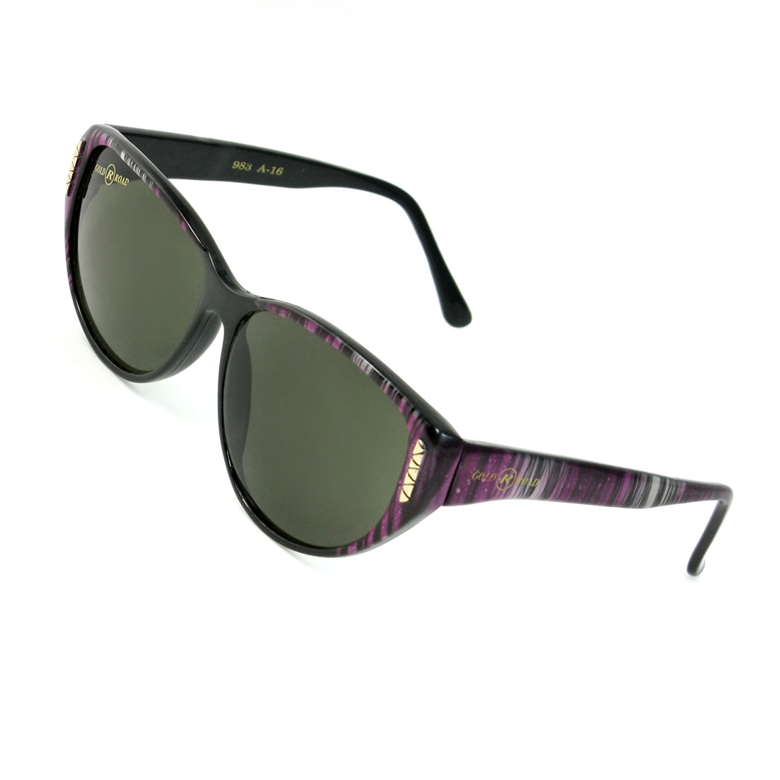 Women Outdoor Teardrop Lens Striped Plastic Full Frame Sunglasses Black Purple