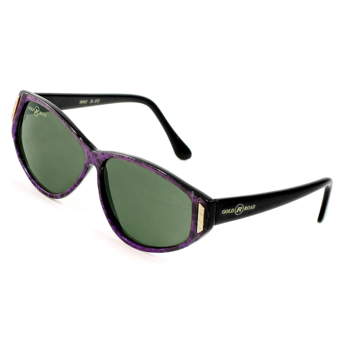 Woman Colored Teardrop Lens Black Purple Full Frame Plastic Sunglasses Glasses
