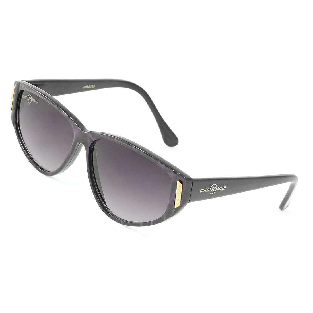 Metal Detailing Black Purple Plastic Single Bridge Full Frame Sunglasses for Lady
