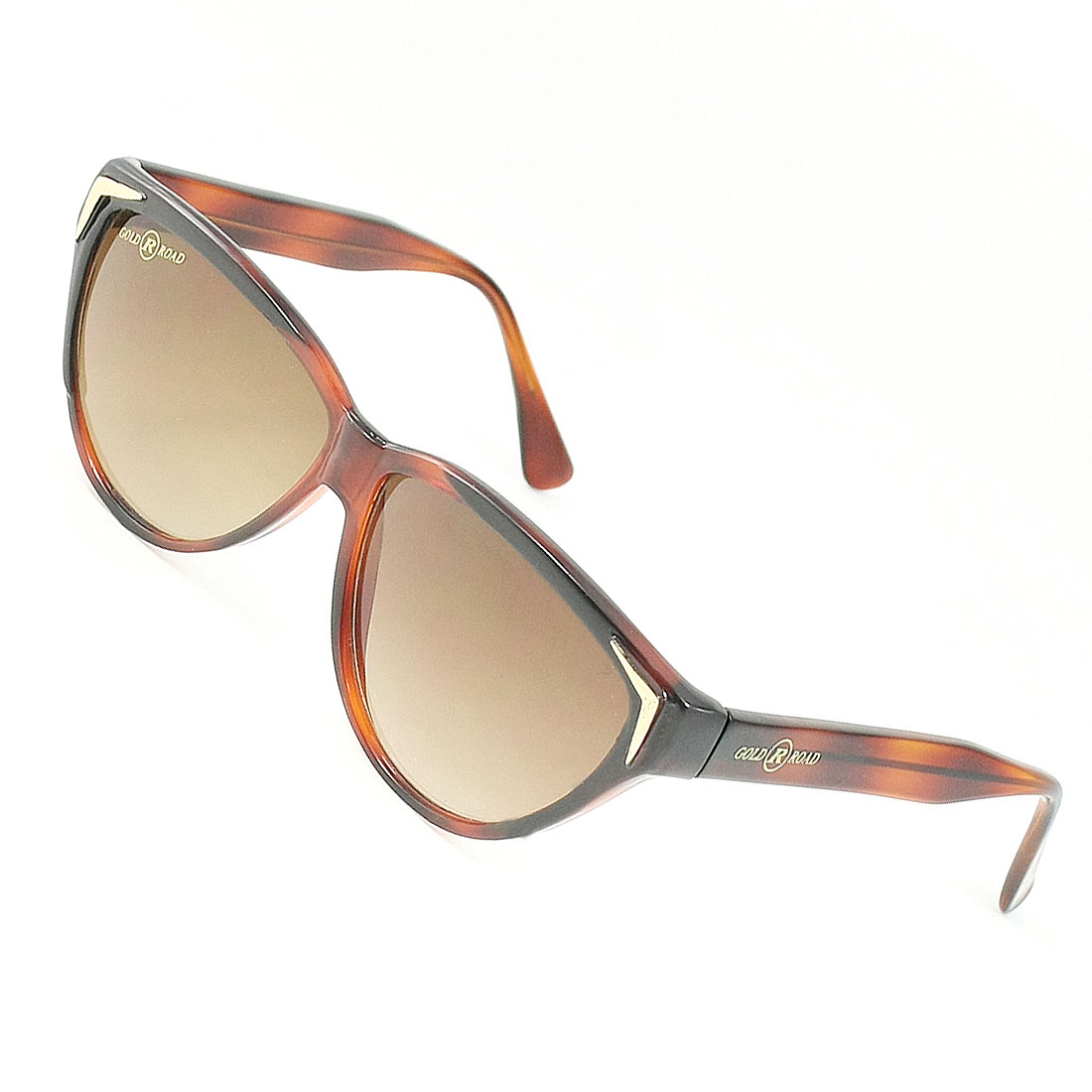 Ladies Tinted Teardrop Lens Plastic Brown Rimmed Single Bridge Sunglasses Glasses