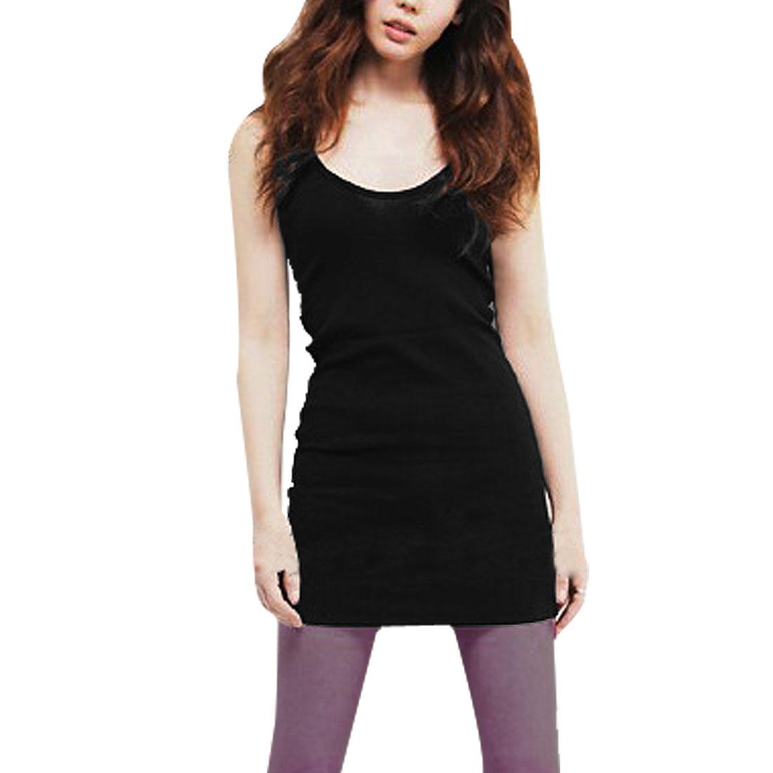 Woman Summer Fashional Tightfitting Elastic Mini Dress Black XS