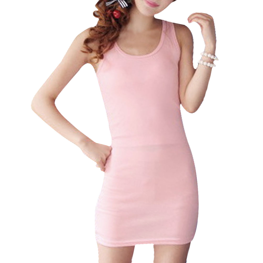 Sexy Sleeveless Pullover Solid Pink Mini Dress XS for Ladies
