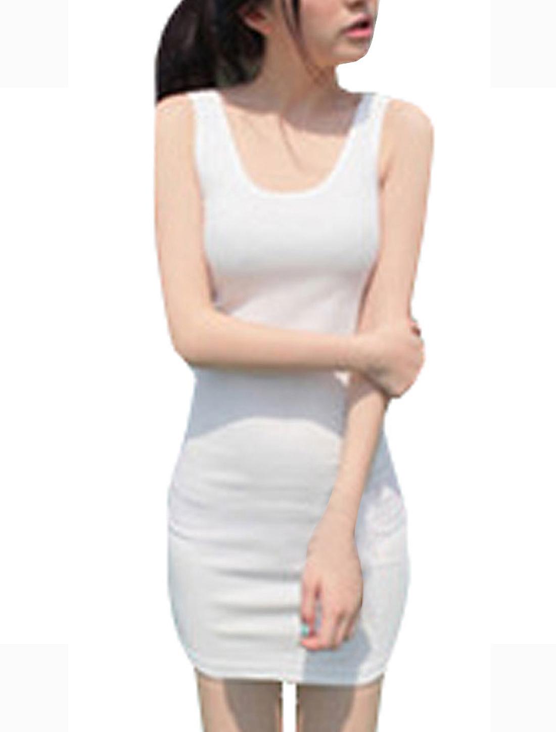 Double U Neck Pure White Closefitting Mini Dress XS for Women