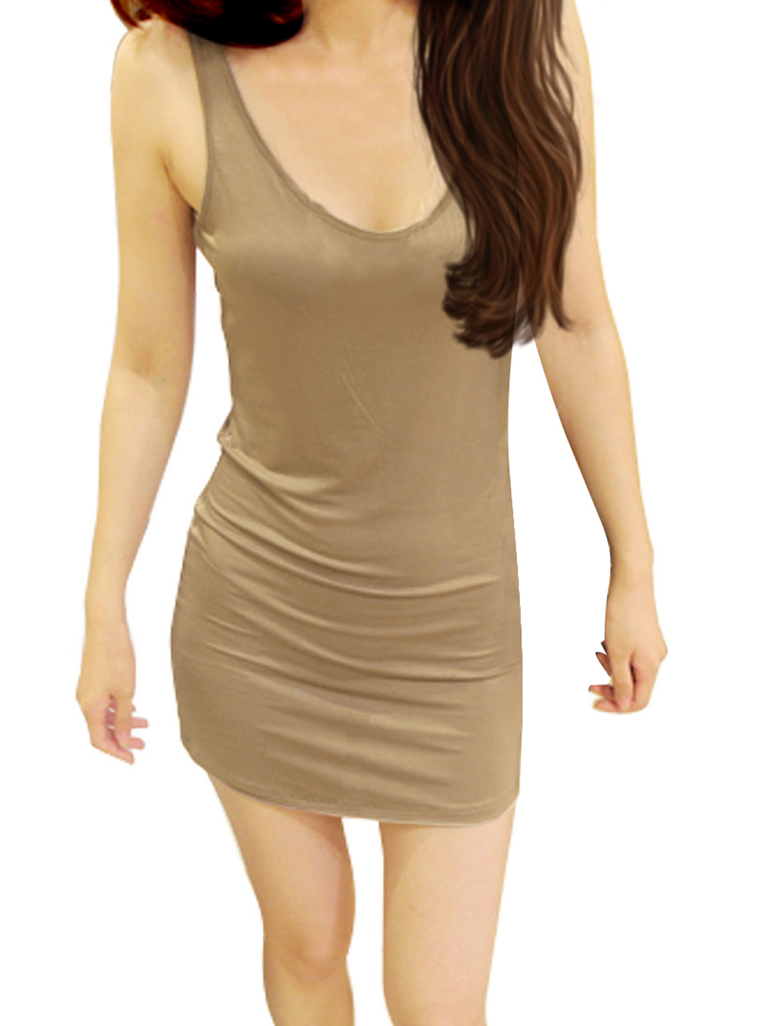 U Neck Backless Pure Beige Closefitting Mini Dress XS for Ladies