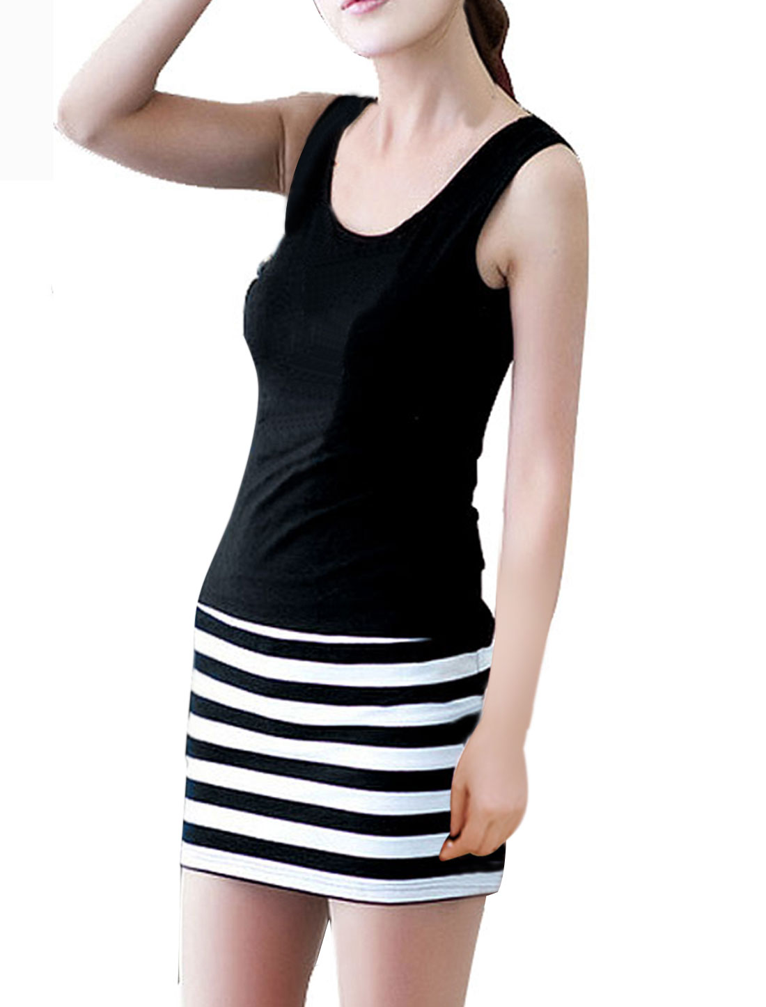 Women Sleeveless Tightfitting Mini Razerback Mini Dress Black White XS