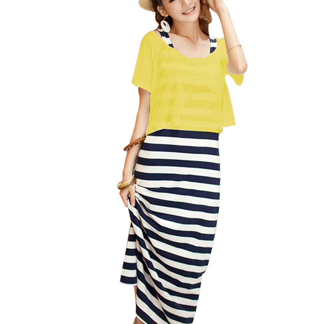 Fashional Pure Yellow Casual Loose Top Blouse S for Woman