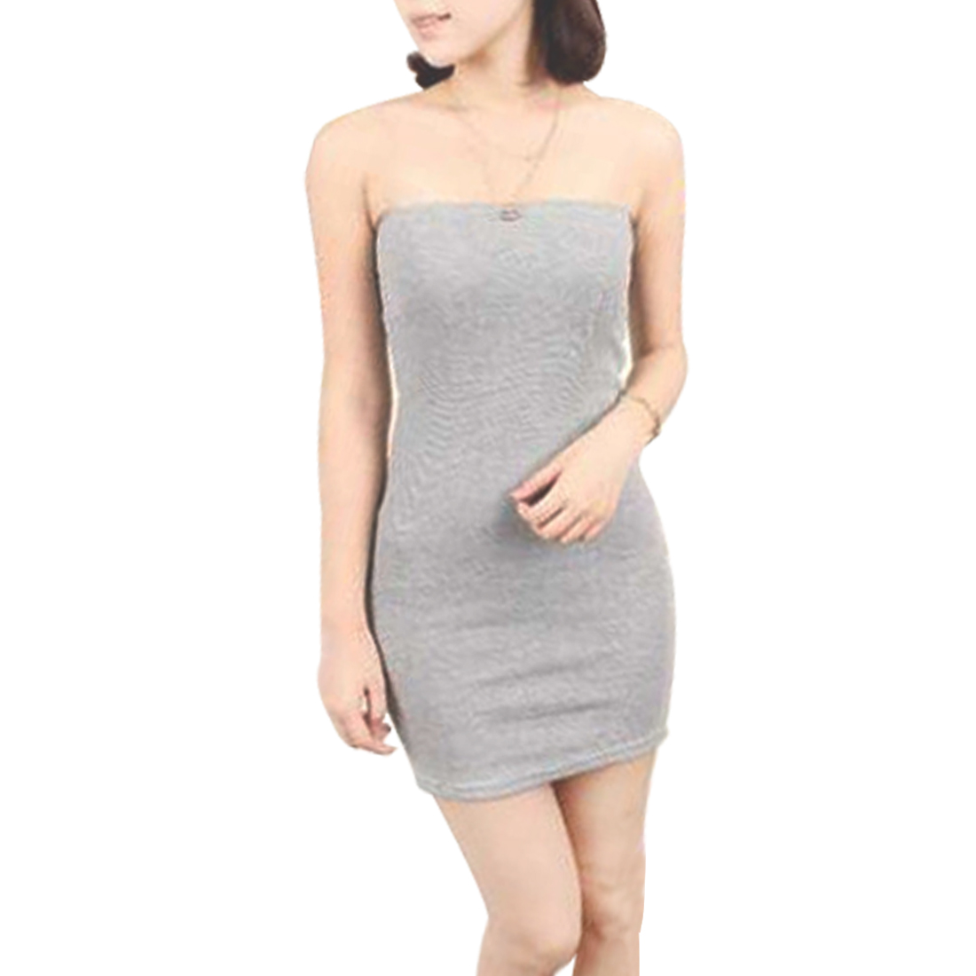 Women Strapless Pure Gray Tube Skinny Stretchy Mini Dress XS