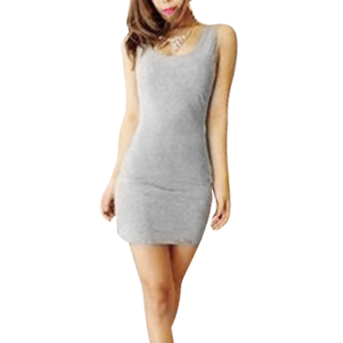 Woman Summer Fashional Tightfitting Elastic Mini Dress Gray XS