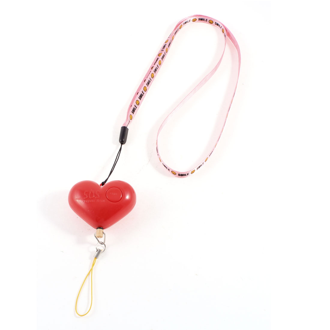 LED Light Neck Strap Plastic Heart Design Personal Self Protection Alarm Red