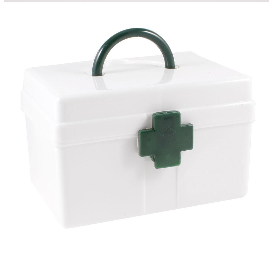"Portable White Plastic Kits Medicine Box Storage Case 6.4""x4.5""x4.3"""