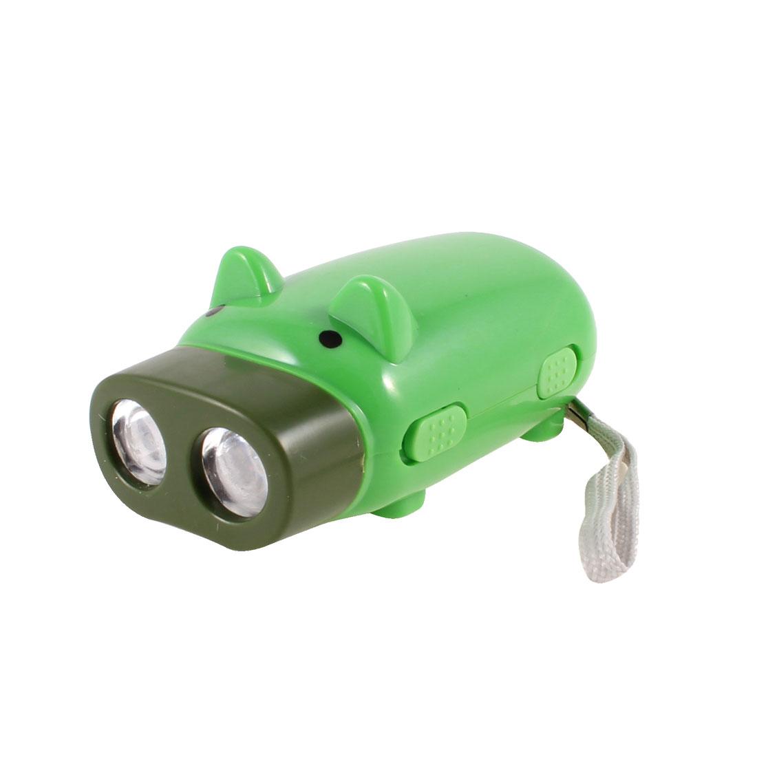 Green Cartoon Pig Shaped Energy Saving 2 LEDs Hand Pressing Flashlight Torch