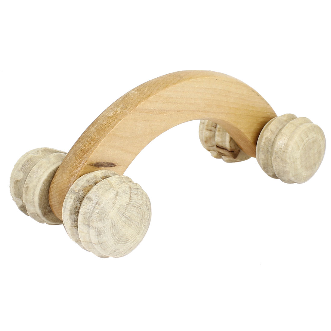 Beige Arch Handle 4 Wheels Wooden Rolling Massager