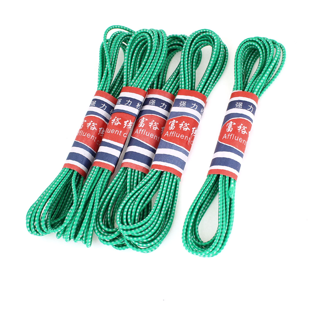 5 Pcs Replacing 3mm Dia Green Round Stretchy Belt Band 4.1M Length for Trousers