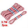 Family Red White Nylon Coated Rubber Garment Round Stretch Band Strap 3.7M 5pcs