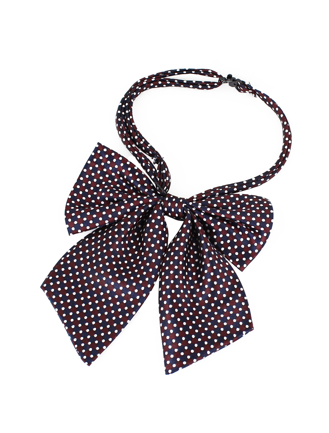 2 Pcs Men Ladies White Mini Dots Printed Red Blue Pre-Tied Bowknot Bowtie