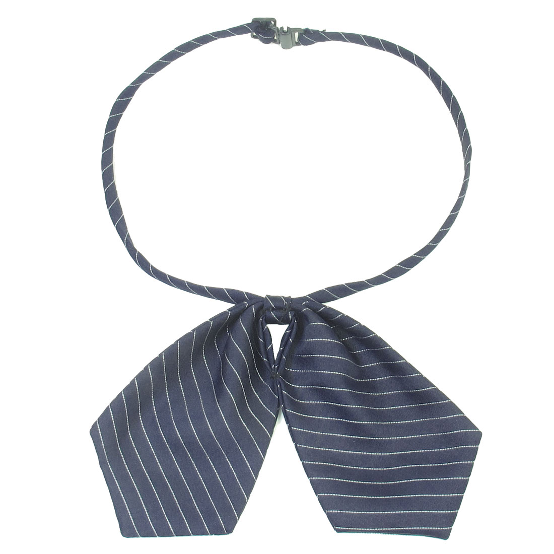 Unise Adjustable Strap Dark Blue White Bowknot Decor Pre Tie Necktie