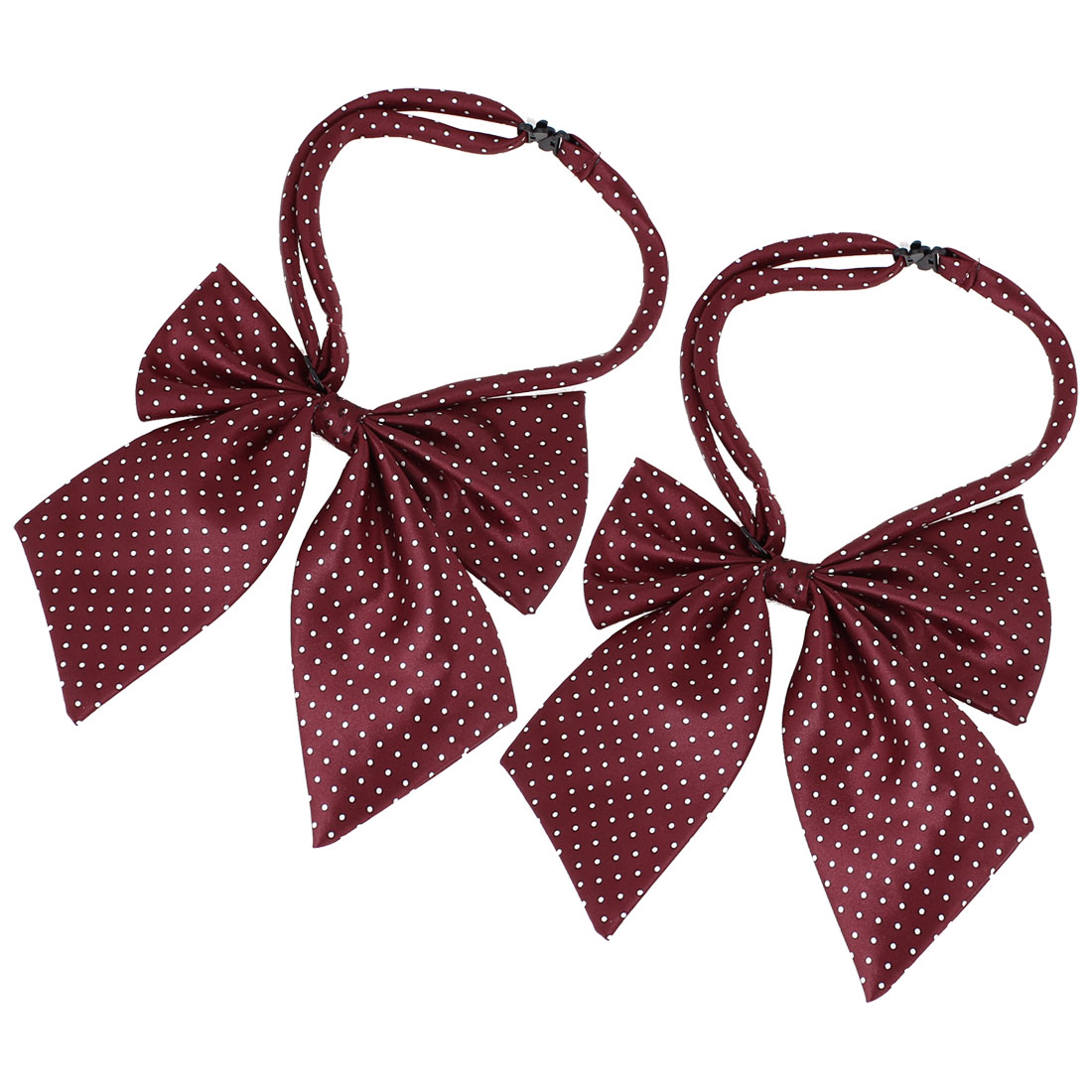 2 Pcs Men Ladies White Mini Dots Printed Burgundy Pre-Tied Bowtie