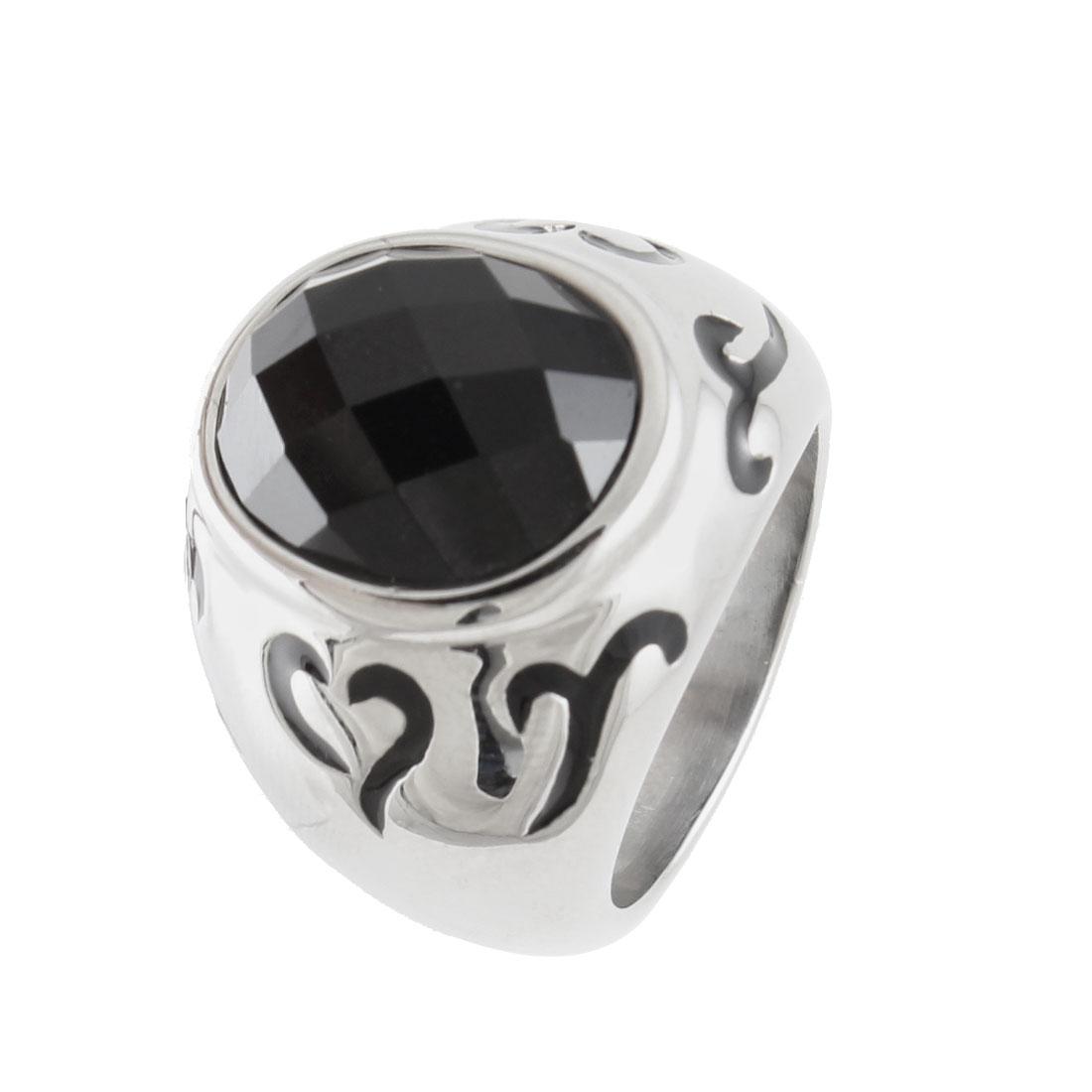 US 9 Finger Decor Black Plastic Faceted Crystal Ring for Man