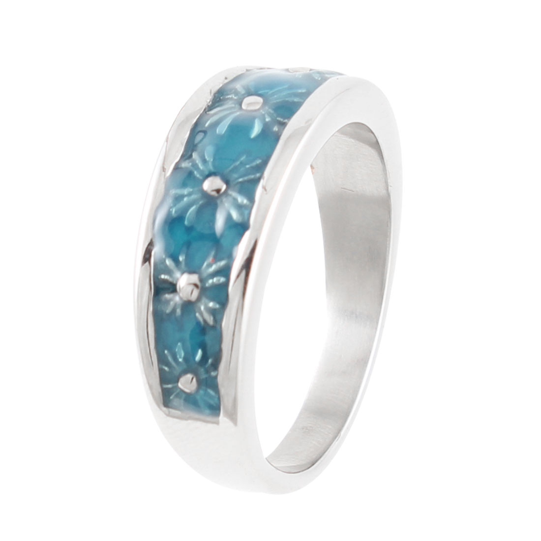 Man Silver Tone Blue Stainless Steel Plasitc Finger Ring US 10 1/2