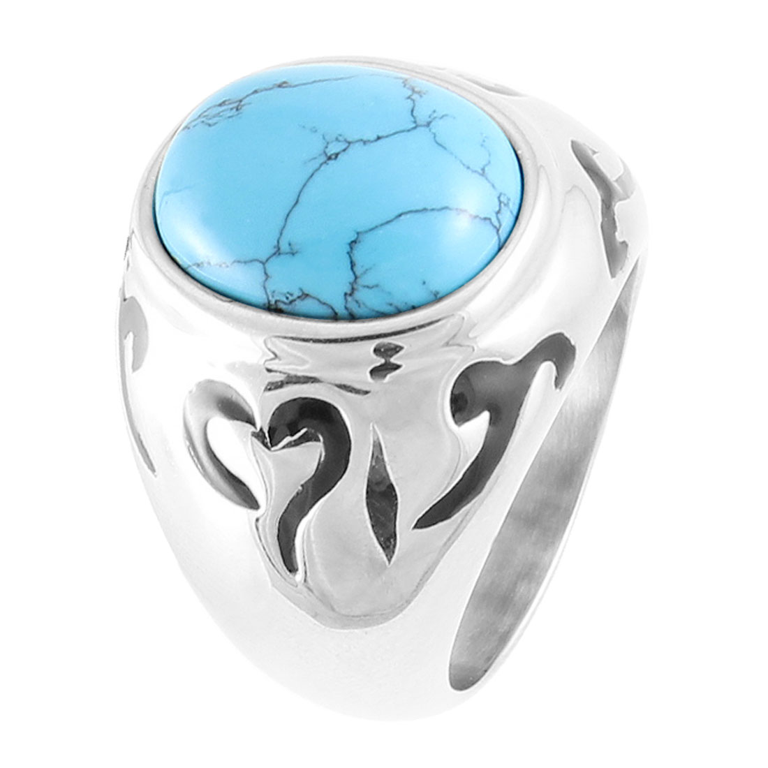 US 9 Plastic Baby Blue Crystal Detail Stainless Steel Finger Ring for Men