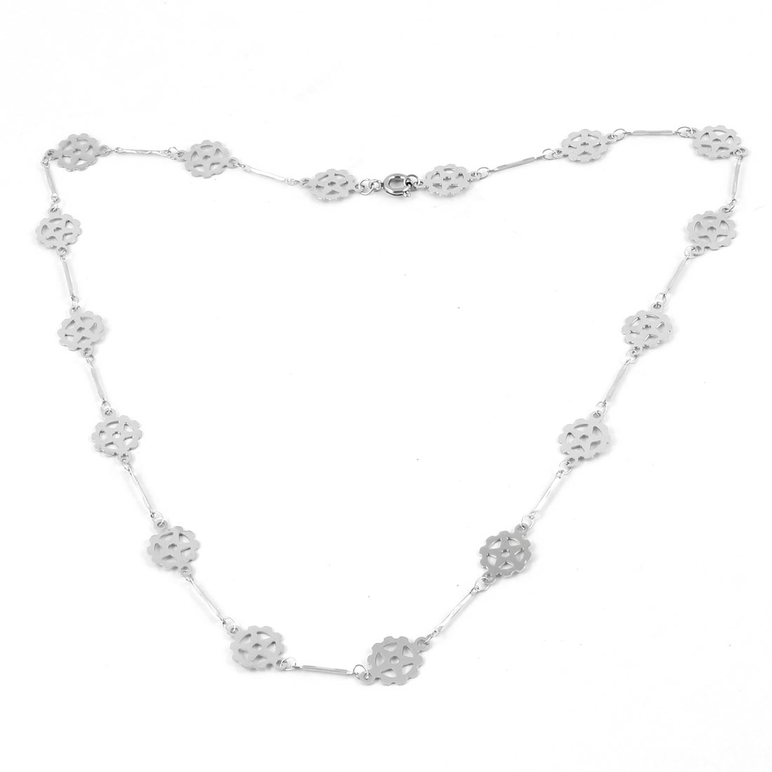Silver Tone Stainless Steel Flower Design Chain Lobster Closure Necklace