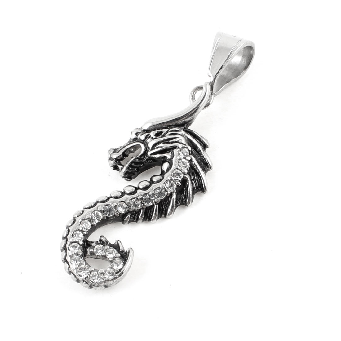 Silver Tone Stainless Steel Plastic Rhinestone Decor Dragon Pendant Necklace