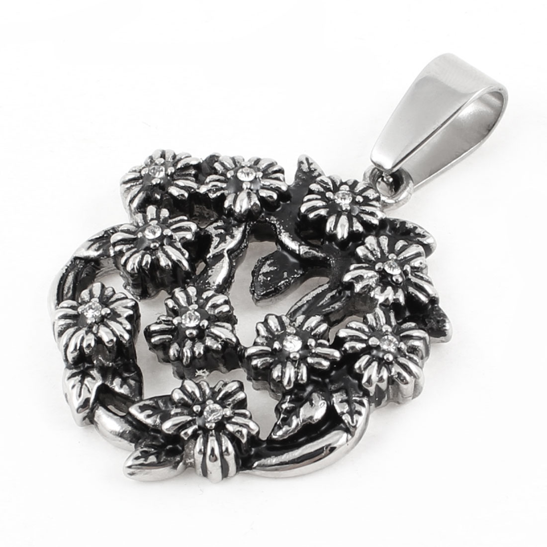Silver Tone Stainless Steel Mum Flower Style Necklace Pendant
