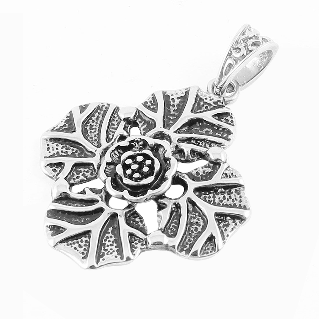 Silver Tone Stainless Steel Flower Leaves Design Necklace Pendant