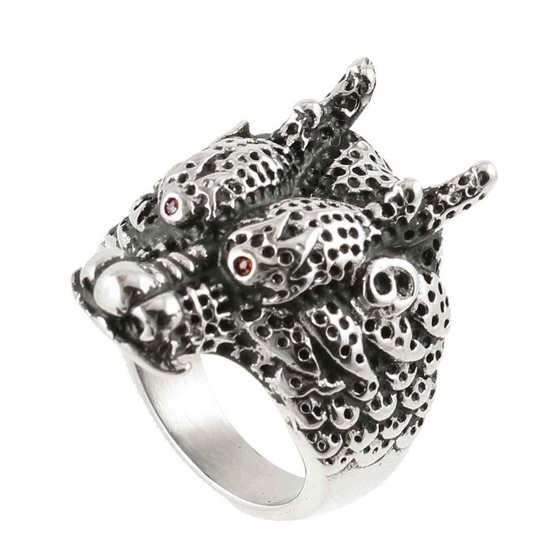 US 8 Stainless Steel Cattle Design Finger Ring Silver Tone for Man