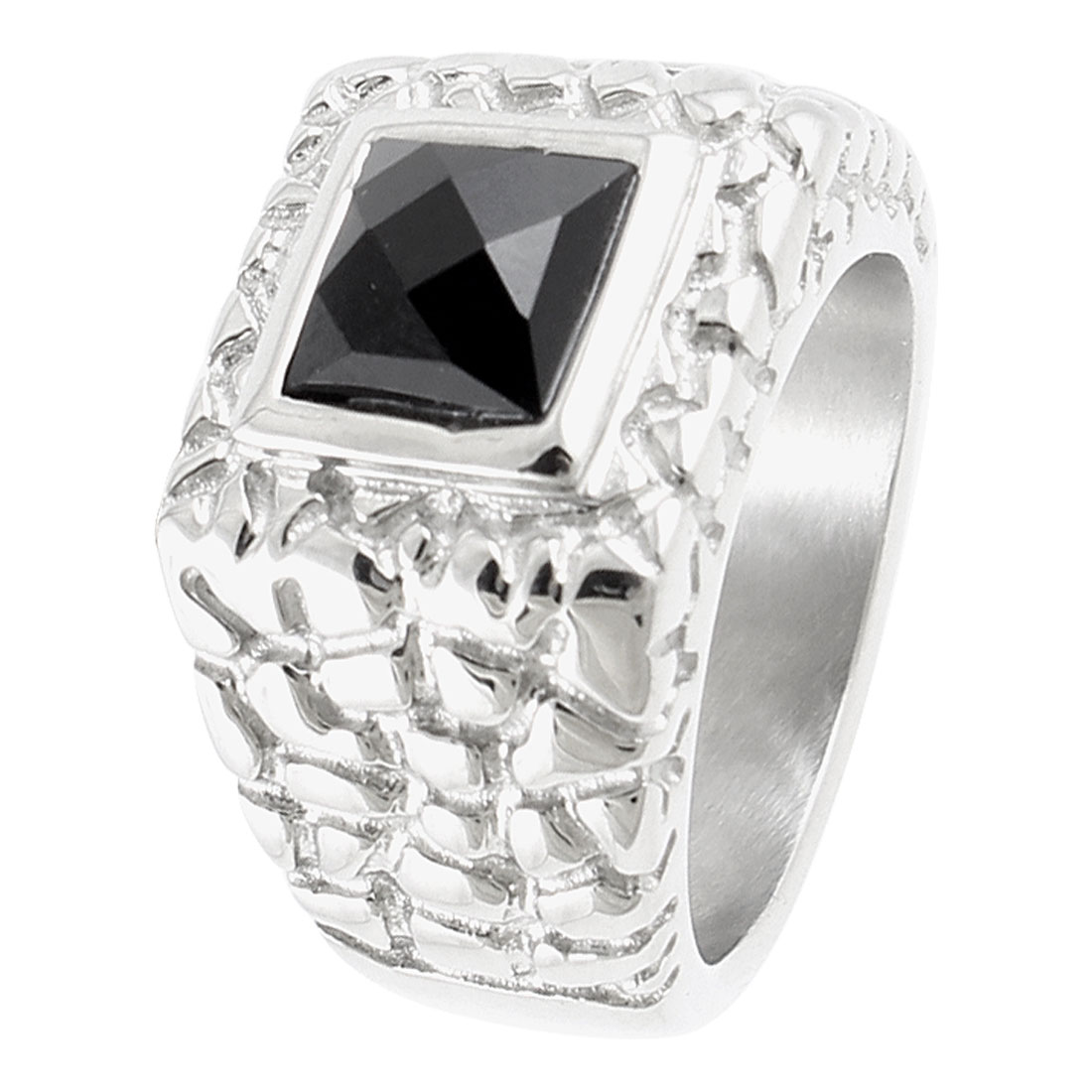 Men Plastic Faux Rectangle Crystal Detail Finger Ring Silver Tone US 11