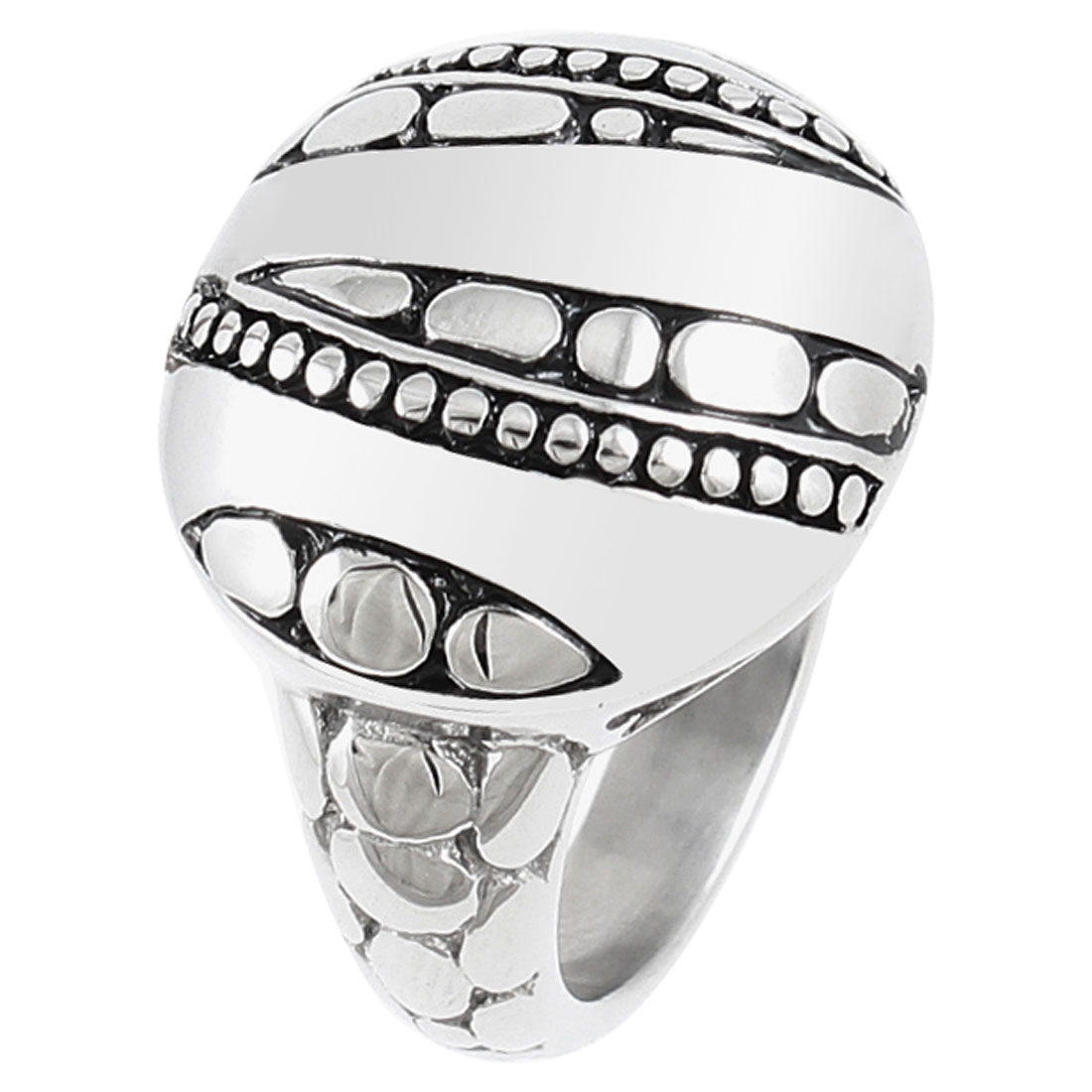Men Stainless Steel Half Ball Shape Accent Finger Ring Silver Tone US 11