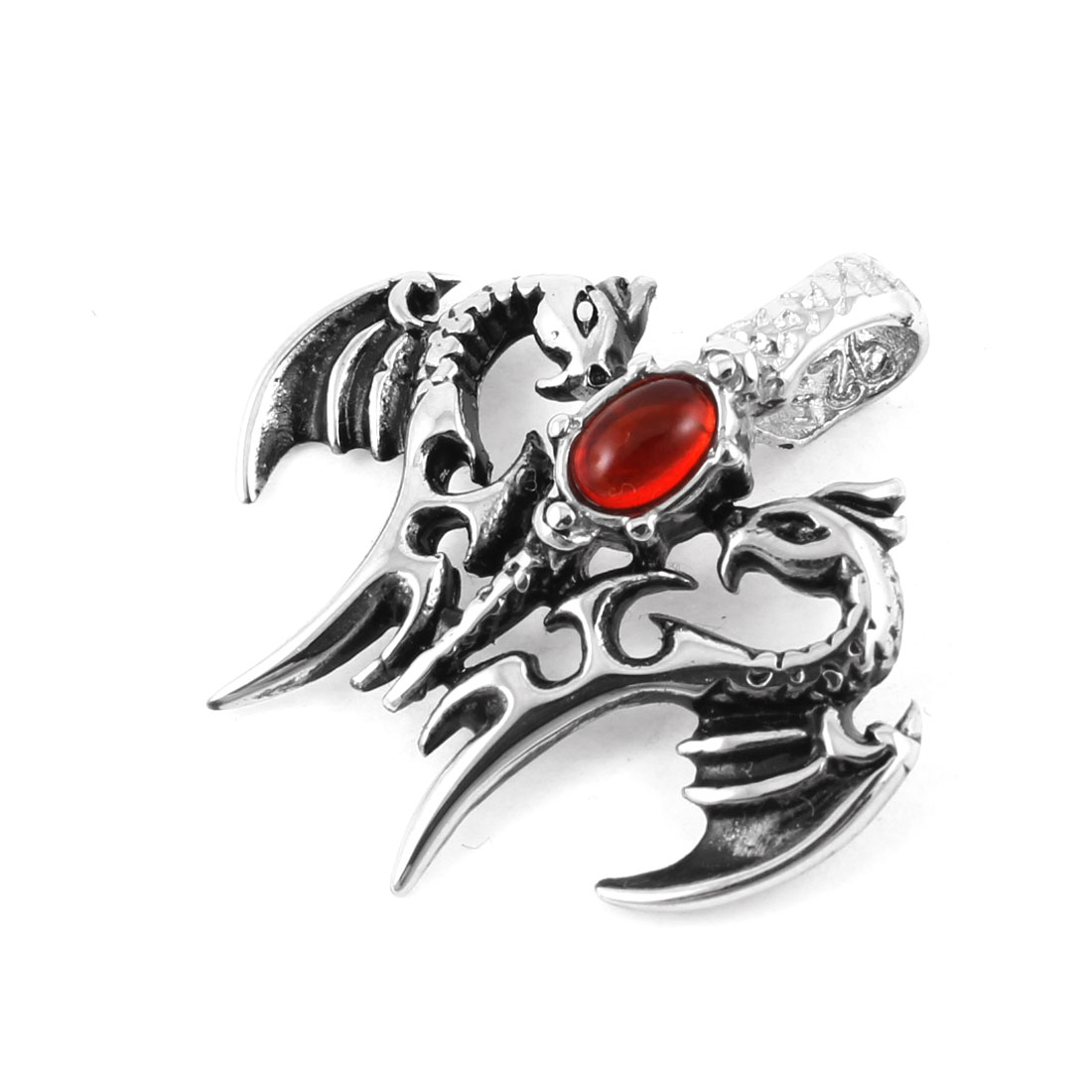 Stainless Steel Dragon Style Red Faux Crystal Ornament Necklace Pendant