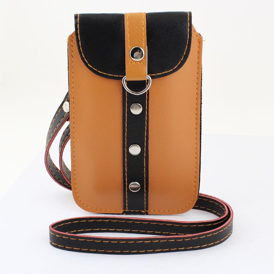 Portable Wrist Strap Sleeve Cover Fleece Lining Black Orange Cell Phone Holder