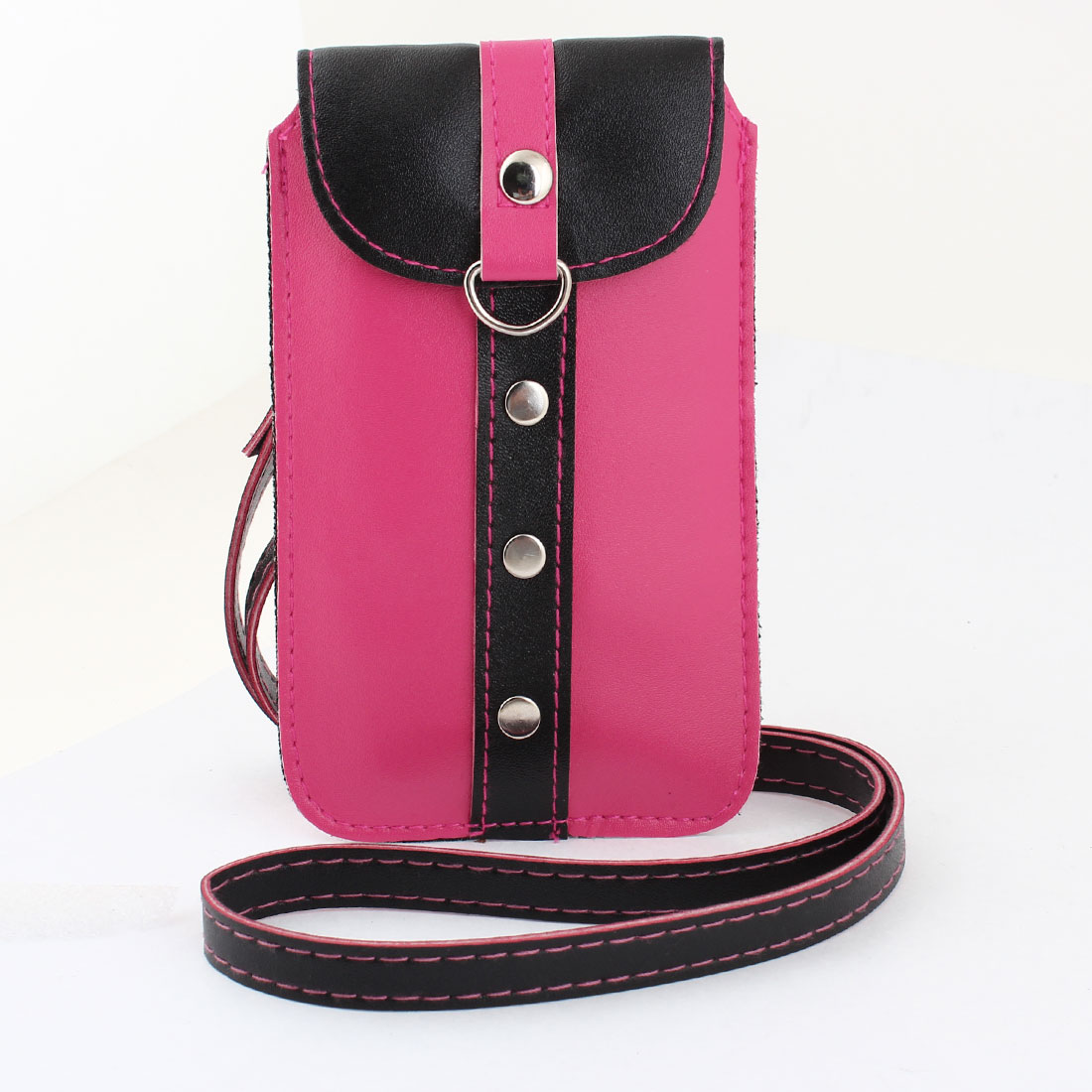 Press Button Closure Fuchsia Black Faux Leather Mobile Phone Bag w Neck Strap
