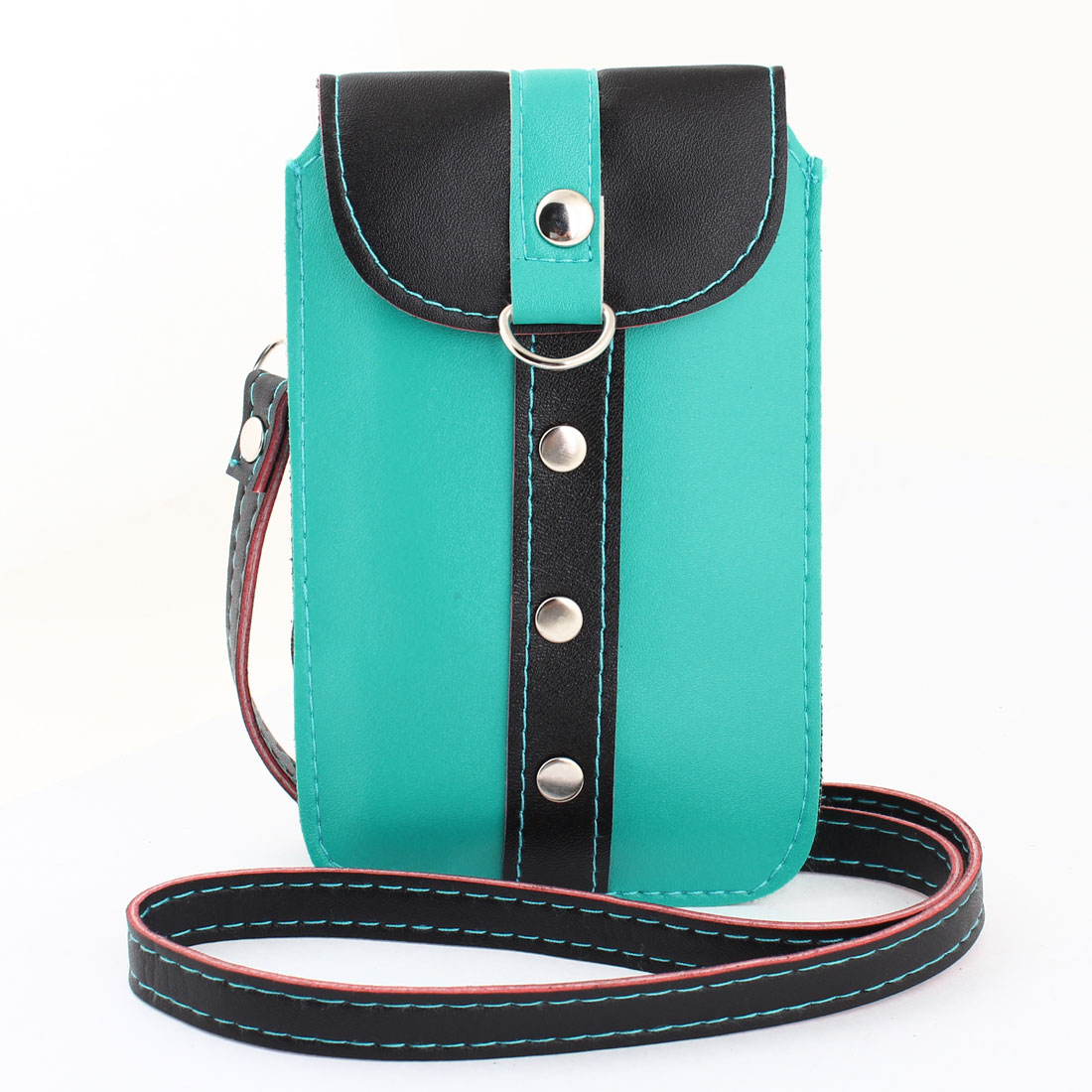 Press Button Closure Teal Green Black Faux Leather Mobile Phone Bag w Neck Strap