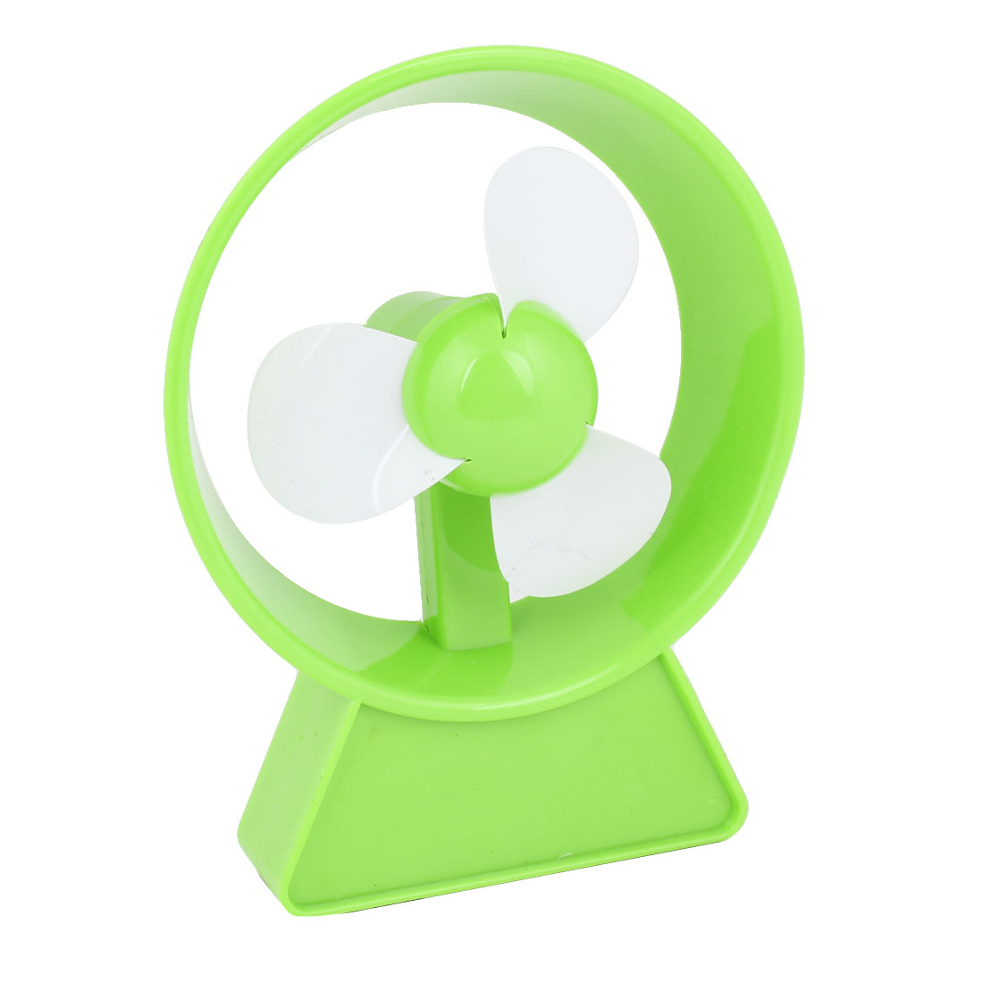 Handy Desktop Notebook Plastic Green Round Frame On/Off Switch Controlled Fan