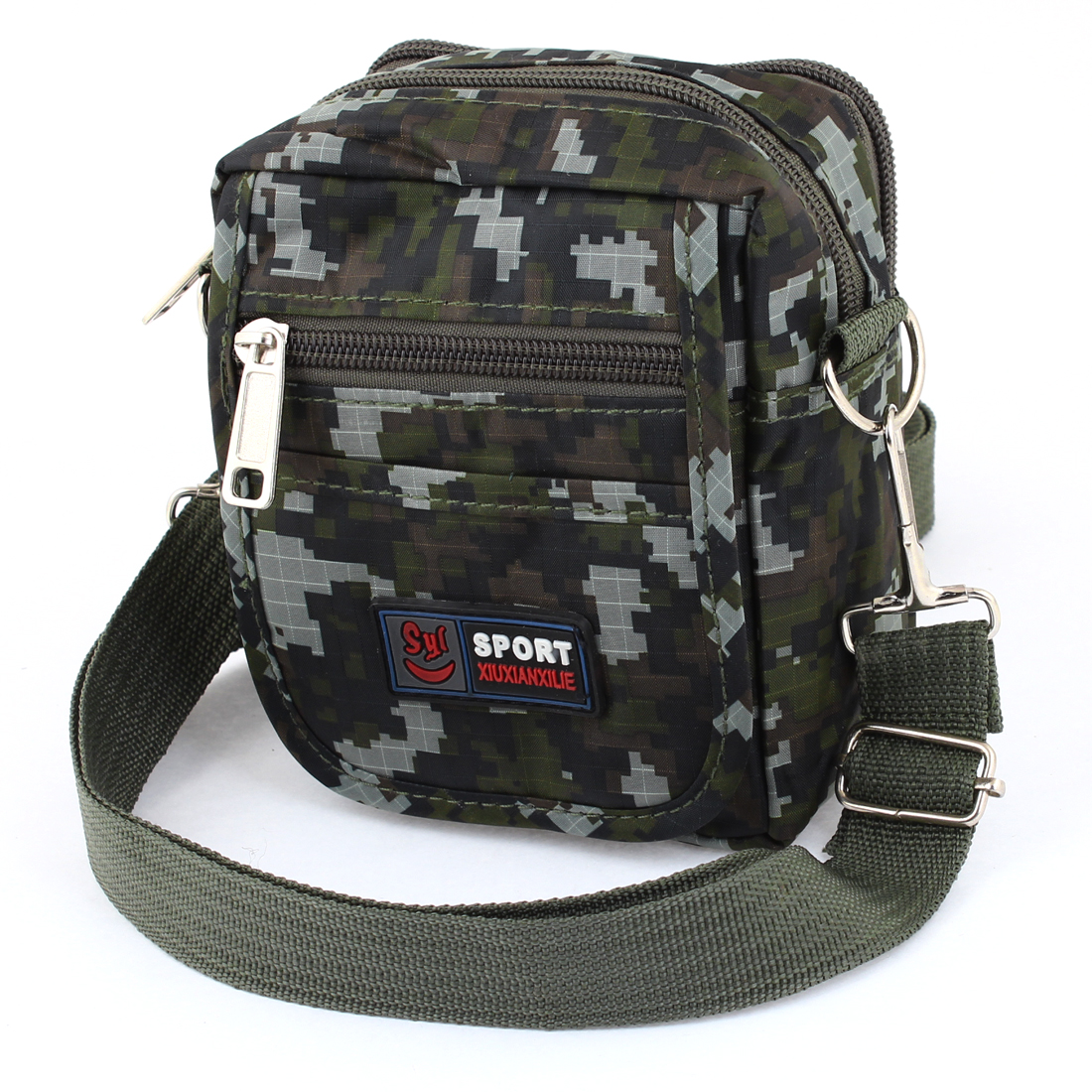 Multilayer Dark Green Camouflage Pattern Zipper Closure Waist Pack Bag for Men