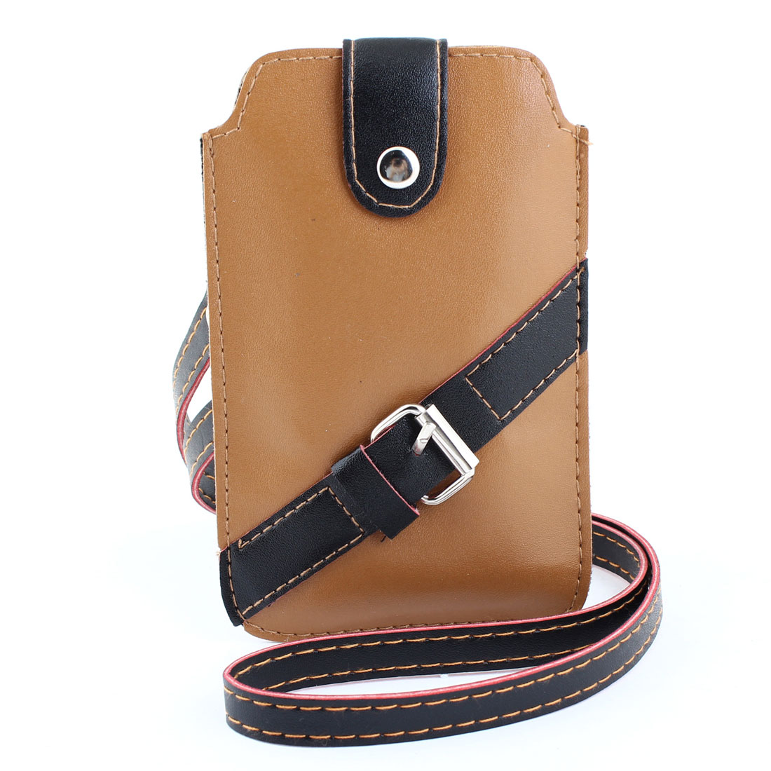 Press Button Closure Brown Black Faux Leather Mobile Phone Bag w Neck Strap